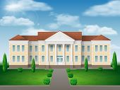 Front View Of Administrative, Governmental, School Or College Building. Traditional Classic Architec poster