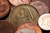 Old Greek Coin Among Euro Coins, Drachmas