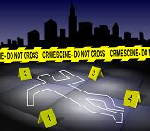 image of crime scene  - A body outline drawn on a footpath by chalk with a city in the background - JPG