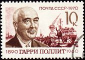 Portrait Of Harry Pollitt On Postage Stamp