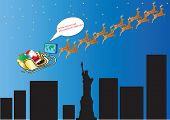 picture of new york night  - Santa and his Reindeer following Satellite Navigation over New York and the Statue of Liberty suitable for Gift Wrap or Greeting Card - JPG