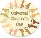 Color hands around the text (sticker), universal children's day