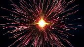 Particle Collision And Explosion. Bright Red Particles With Streams Collide And Create Explosion Sho poster