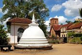 White Stupa At The Temple Of The Lord Buddha Tooth Relic.  Kandy, Sri Lanka. The Temple Is The Sacre