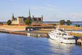 Ferry Boat At Pier, Kronborg Castle At Backgroung, Helsingor, Zealand, Danmark Europe poster