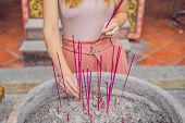 Incense Sticks On Joss Stick Pot Are Burning And Smoke Use For Pay Respect To The Buddha, Incense St poster