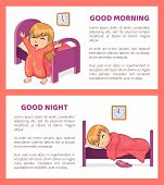 Good Morning And Night Set Of Banners With Text Sample And Headlines, Girl Sleeping And Waking Up, M poster