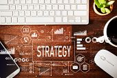 Strategy With Workstation On A Wooden Desk poster