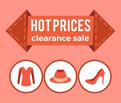 Hot Prices Clearance Sale Promo Advert On Arrow, Sweater Hat And Stiletto Shoes Icons Circles Flat D poster