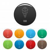 Oak Leaf Icon. Outline Illustration Of Oak Leaf Vector Icons Set Color Isolated On White poster