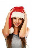 Portrait of beautiful sexy girl wearing santa claus clothe