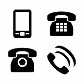 Vector Icon Set: Flat Black Phone Icons - Mobile Phone, Handset, Two Types Of Traditional Phone poster