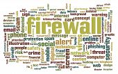 Firewall Word Cloud. Creative Illustration Of Idea Word Lettering Typography . 3d Rendering. poster