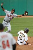 MESA, AZ - NOVEMBER 4: Mesa Solar Sox outfielder Robbie Grossman slides into Salt River Rafters infi