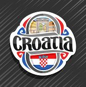 Vector Logo For Croatia Country, Fridge Magnet With Croatian Flag, Original Brush Typeface For Word  poster