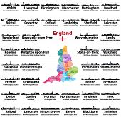 England Cities Skylines Icons With Names Of City, Region And Ceremonial County. Flag And Map Of Engl poster
