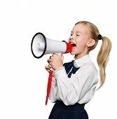 Megaphone Announcement, School Child Girl Announce Scream Using Speaker, Kid Isolated Over White Bla poster