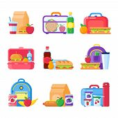 School Kid Lunch Box. Healthy And Nutritional Food Meals For Kids Breakfast In Lunchbox Plastic Frui poster
