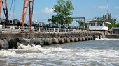 Flood Wall And Pump Outlets In Thailand