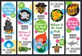 Pirate Party, Pirate Story. Set Of Vector Banners poster