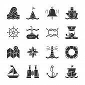 Nautical Black Silhouette Icon Set. Marine Monochrome Flat Design Symbol Pack. Navigation Simple Pic poster