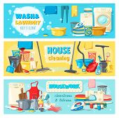 Laundry And Wash, House Cleaning And Housework Banners. Equipment And Tools For Domestic Chores And  poster