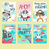 Pirate Party Invitation Card Template Set. Vector Illustration Of Cute Animals Panda, Raccoon, Fox I poster
