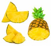 Pineapple Collection With Fresh Whole And Sliced Ananas  Isolated On White Background. Tropical Frui poster