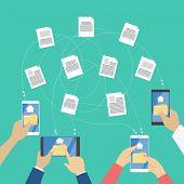 Постер, плакат: File Transfer Between The Digital Devices Copy Files Exchange Data And Document Transfer Through I