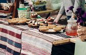 Tasty Cookies And Cakes With Creamy Cupcakes On Table, Space For Text. Street Food Festival. Candy B poster