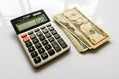 Calculator with US Dollars, Calculator and Money Banknote, Finance and Savings, American Dollar Bank poster