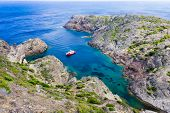 Ship At Cap De Creus, Catalonia, Spain. The Most Eastern Point Of Spain And The Iberian Peninsula. N poster