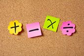 Sticky Colorful Notes In Flower Shape, Isolated, With Math Symbols On Corkboard poster