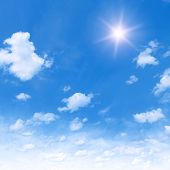 foto of cumulus-clouds  - Blue sky with clouds and sun - JPG