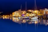 San Antonio de Portmany night port view in Ibiza island