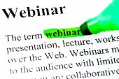 Definition of word webinar marked in green