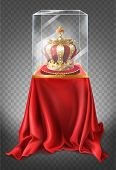 Vector Realistic Illustration Of Museum Exhibit, Royal Golden Crown Closed Under Glass Showcase, Iso poster