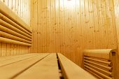 Interior Of Finnish Sauna. Classic Wooden Sauna. Finnish Bathroom. Wooden Sauna Cabin. Wooden Room.  poster