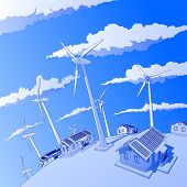 Industry concept: wind-driven generators & houses with solar power systems. Bitmap copy my vector id