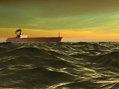 Sea and ship. 3d rendering image