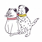 Amusing Dog Annoying Cat. Playful Naughty Dalmatian Puppy Irritating And Bothering Kitten Isolated O poster