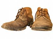 Old And Dirty Worn Out Working Boots