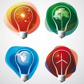 Energy symbols in a light bulb.