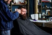 Hipster Lifestyle Concept. Hipster Client Getting Haircut. Barber With Hair Clipper Work On Hairstyl poster