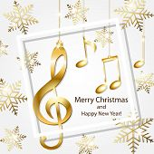 Abstract New Year Background With Musical Notes, Treble Clef And Snowflakes poster