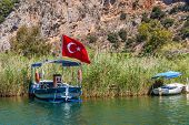Lycian Tombs In The Mountains On The Dalyan River, Turkey. Dalyan Canal View. Dalyan Is Populer Tour poster