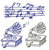 Music doodle. Set of vector music note and gramophone doodle.