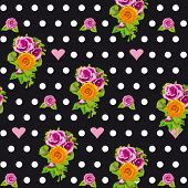 Seamless polka dots pattern with wild roses