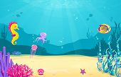 Underwater Cartoon Background With Fish, Sand, Seaweed, Pearl, Jellyfish, Coral, Starfish, Octopus,  poster