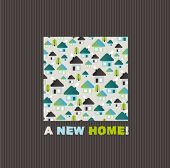 New home greeting card design in vector